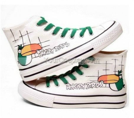 Angry Birds White Green Hand Painted Canvas Shoes-4