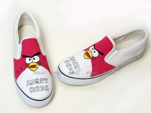 Hand Drawing Angry Birds Red White Hand Painted Canvas Shoes-2