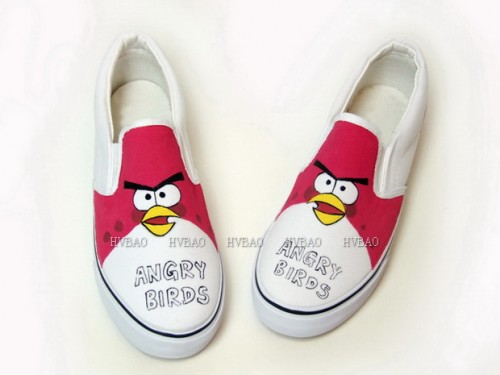 Hand Drawing Angry Birds Red White Hand Painted Canvas Shoes-3