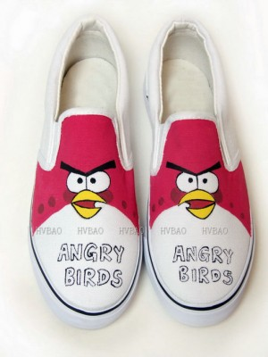 Hand Drawing Angry Birds Red White Hand Painted Canvas Shoes-4