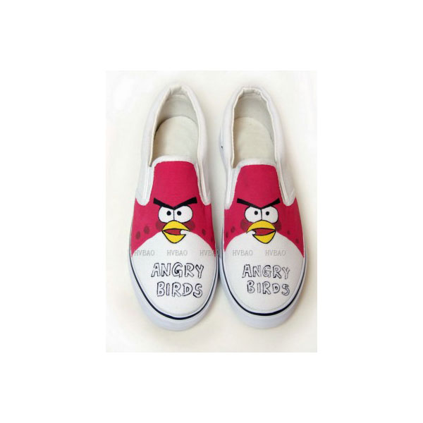 Hand Drawing Angry Birds Red White Hand Painted Canvas Shoes