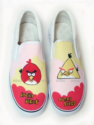 Low Angry Birds Red Pink Yellow Hand Painted Canvas Shoes-1