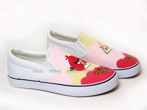 Low Angry Birds Red Pink Yellow Hand Painted Canvas Shoes-2