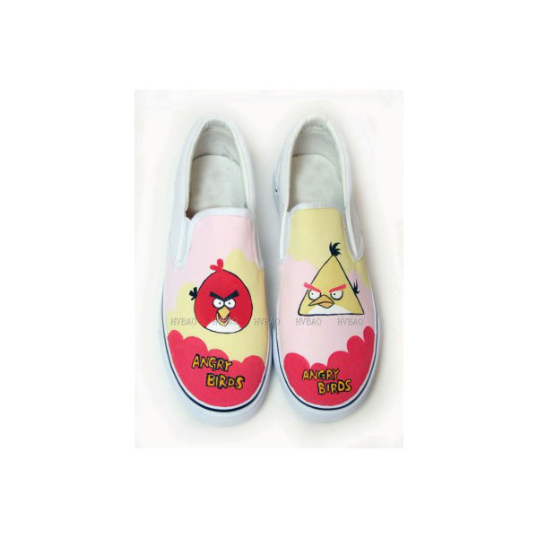 Low Angry Birds Red Pink Yellow Hand Painted Canvas Shoes