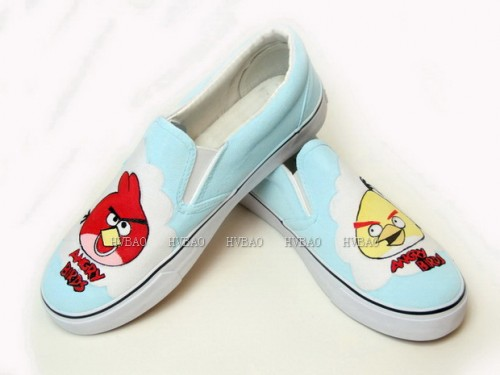 Painted Shoes Angry Birds Baby Blue Hand Painted Canvas Shoes-2