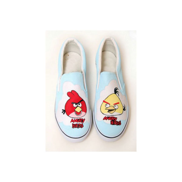 Painted Shoes Angry Birds Baby Blue Hand Painted Canvas Shoes