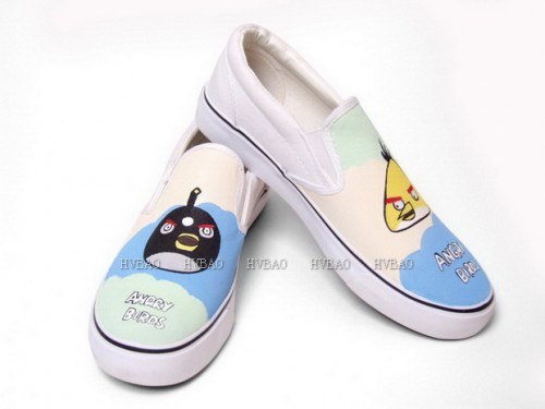 Angry Birds Yellow Blue Orange Hand Painted Canvas Shoes-2