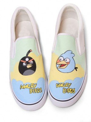 Hand Drawing Angry Birds Blue Green Hand Painted Canvas Shoes-1