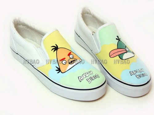 Low Angry Birds Green White Hand Painted Canvas Slip-on Shoes-1