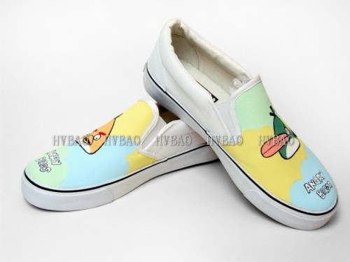 Low Angry Birds Green White Hand Painted Canvas Slip-on Shoes-2