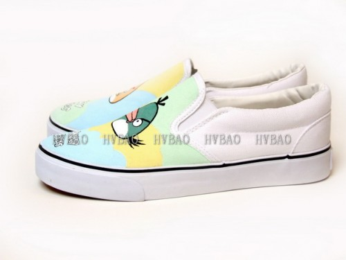 Low Angry Birds Green White Hand Painted Canvas Slip-on Shoes-3