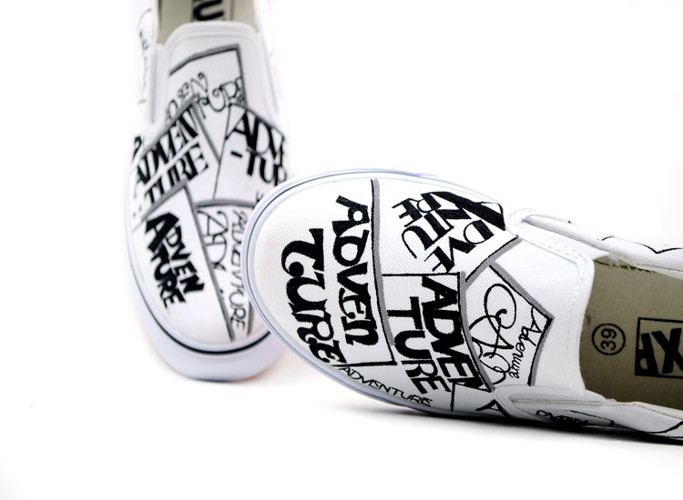 Painted Shoes Punk&Rock Style Funky Letters Doodle Canvas Shoes-2