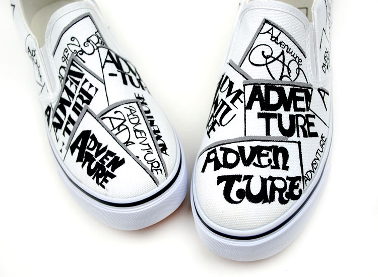 Painted Shoes Punk&Rock Style Funky Letters Doodle Canvas Shoes-3