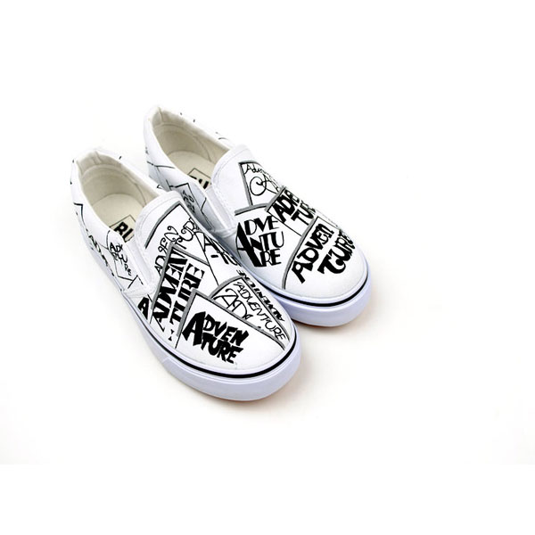 Painted Shoes Punk&Rock Style Funky Letters Doodle Canvas Shoes