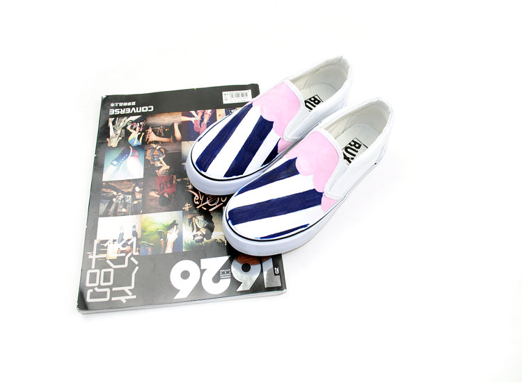 Fashion Design Navy Stripe Custom Hand Painted Canvas Shoes-1