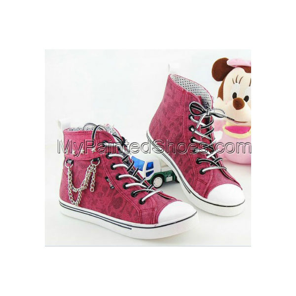 High Top Metal Chain Red Canvas Women Shoes