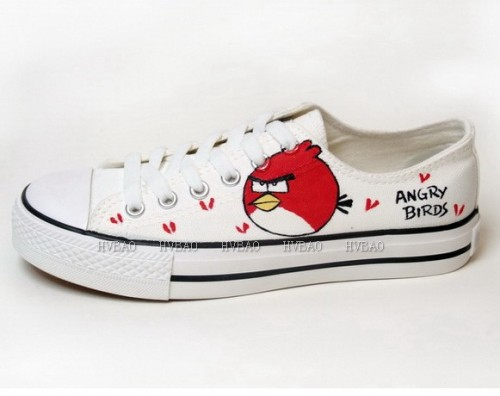 Low Angry Birds White Red Hand Painted Canvas Shoes-1