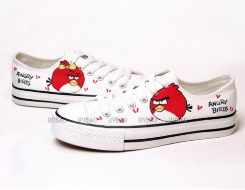 Low Angry Birds White Red Hand Painted Canvas Shoes-2