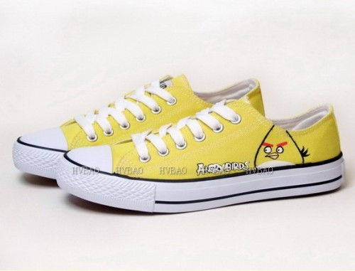 Angry Birds Yellow Hand Painted Canvas Shoes-2