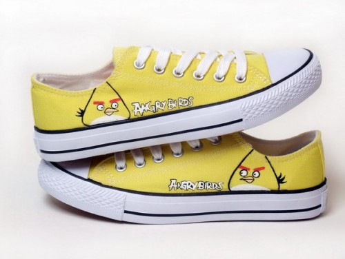 Angry Birds Yellow Hand Painted Canvas Shoes-4