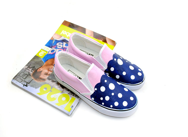 Blue Polka Dots Ladies and Kids Custom Hand Painted Shoes-1