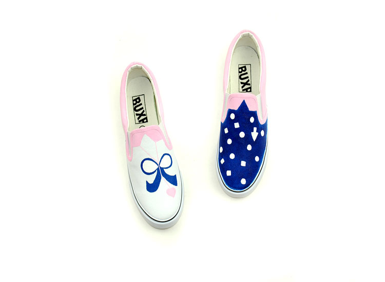 Blue Polka Dots Ladies and Kids Custom Hand Painted Shoes-2