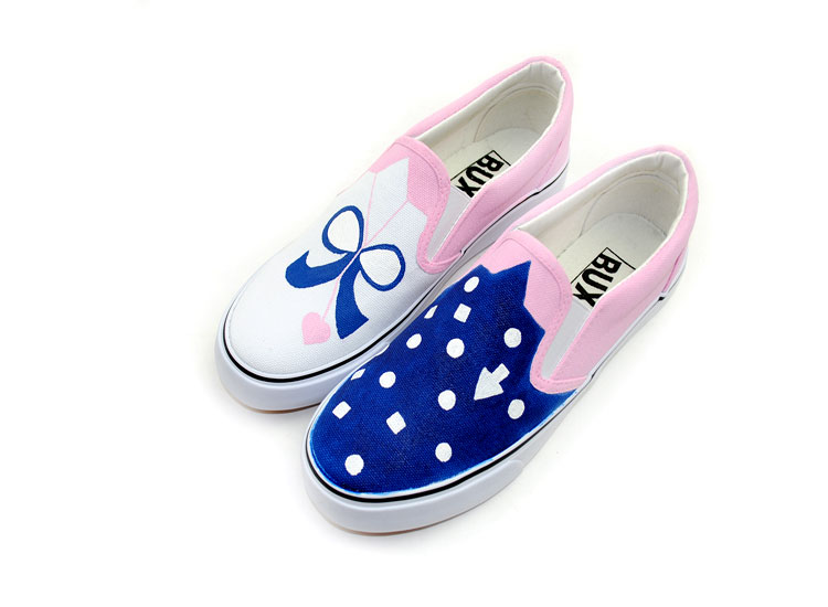 Blue Polka Dots Ladies and Kids Custom Hand Painted Shoes-3