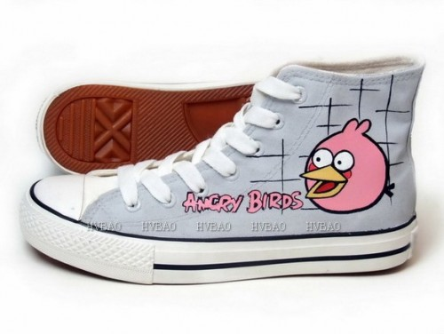 Angry Birds Grey Hand Painted Canvas Shoes-1