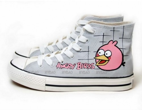 Angry Birds Grey Hand Painted Canvas Shoes-3