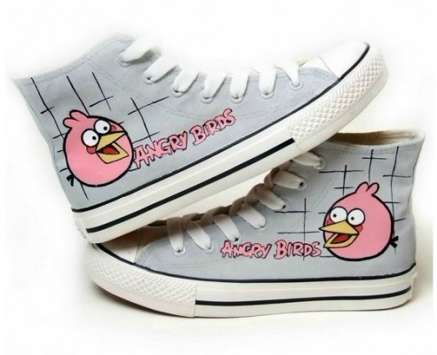 Angry Birds Grey Hand Painted Canvas Shoes-4