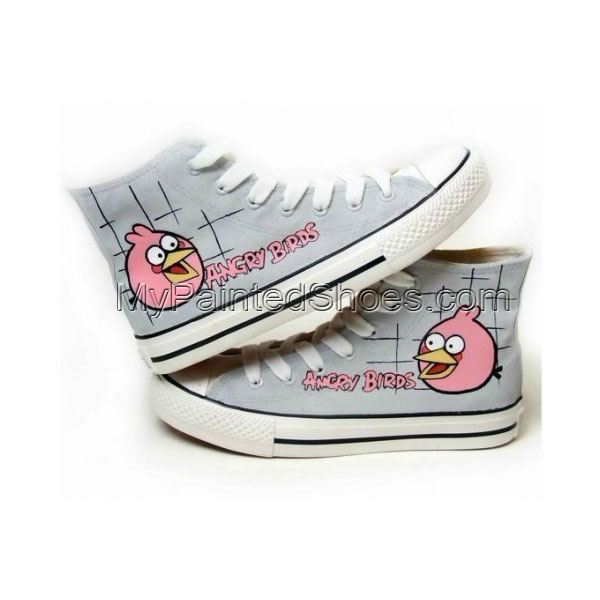 Angry Birds Grey Hand Painted Canvas Shoes