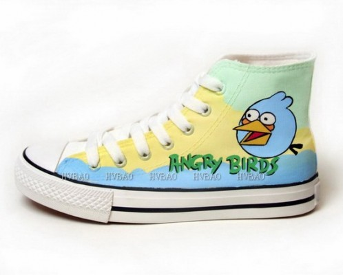Angry Birds Yellow Green Blue Hand Painted Canvas Shoes-1