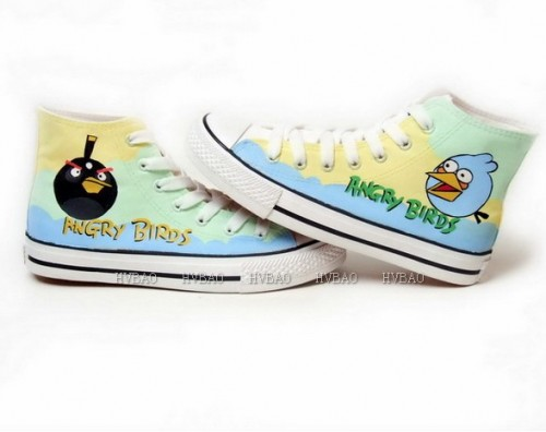 Angry Birds Yellow Green Blue Hand Painted Canvas Shoes-3