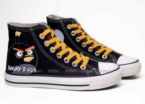 Angry Birds Black Hand Painted Canvas Women/Men Painted Shoes-2