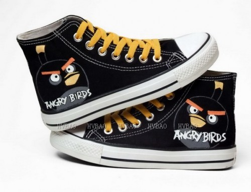 Angry Birds Black Hand Painted Canvas Women/Men Painted Shoes-4