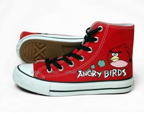 Angry Birds Red Hand Painted Canvas Women/Men Shoes-1