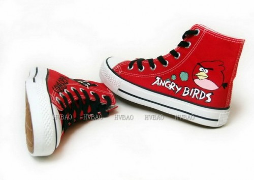 Angry Birds Red Hand Painted Canvas Women/Men Shoes-3
