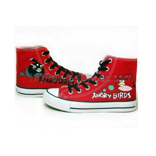 Angry Birds Red Hand Painted Canvas Women/Men Shoes
