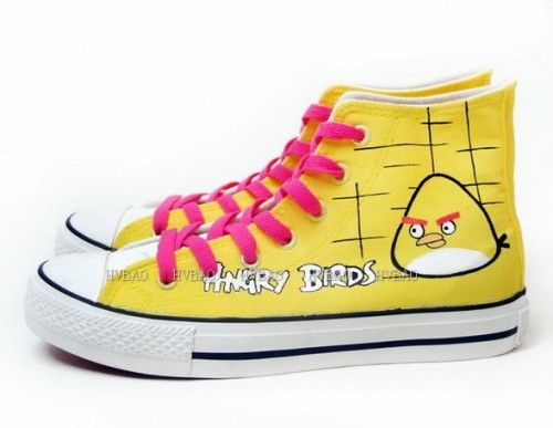 Angry Birds Yellow Hand Painted Women Canvas Shoes Anime Shoes-1