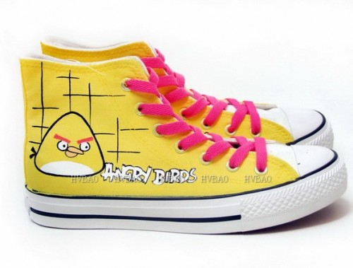 Angry Birds Yellow Hand Painted Women Canvas Shoes Anime Shoes-2