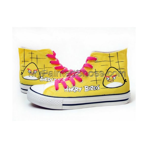 Angry Birds Yellow Hand Painted Women Canvas Shoes Anime Shoes