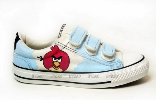 Hand Painted Angry Birds Light Blue Hand Painted Canvas Shoes-2