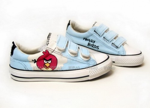 Hand Painted Angry Birds Light Blue Hand Painted Canvas Shoes-3