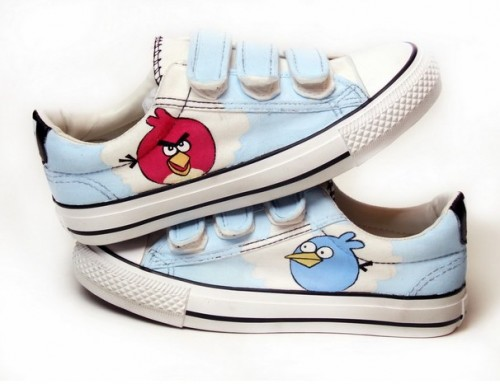 Hand Painted Angry Birds Light Blue Hand Painted Canvas Shoes-4