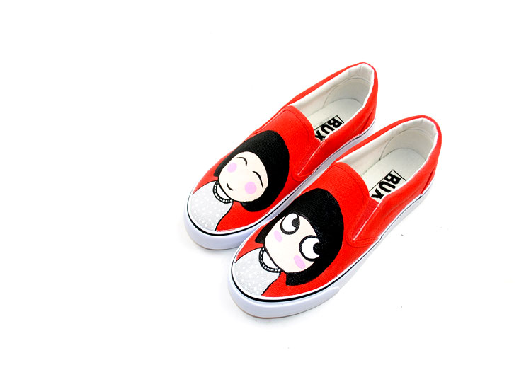 Little Funny Girl Style Custom Hand Painted Canvas Shoes-2