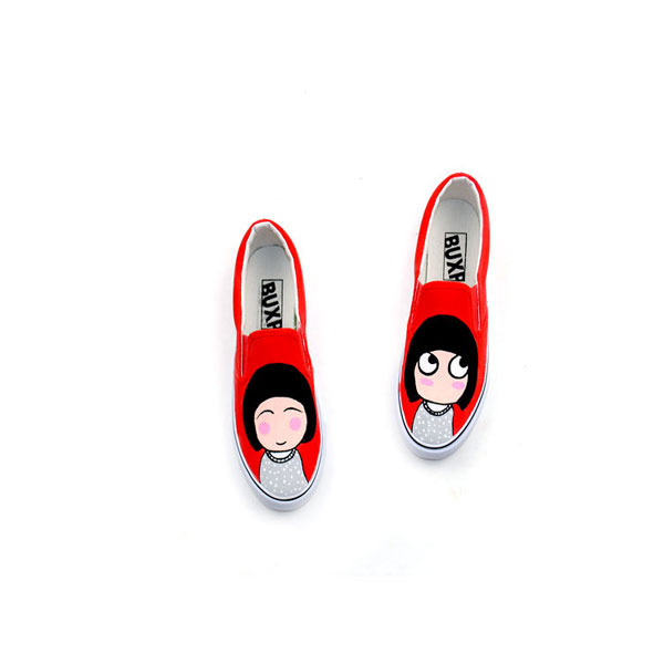Little Funny Girl Style Custom Hand Painted Canvas Shoes