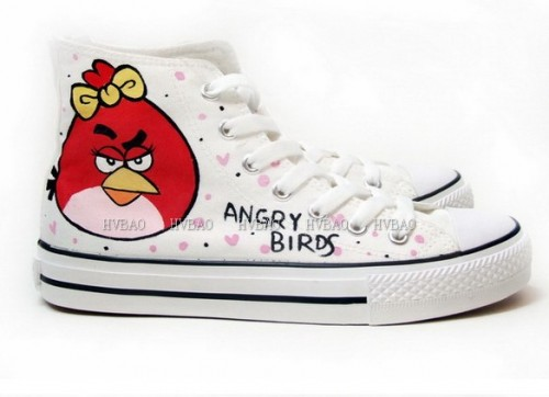 Angry Birds White Hand Painted Canvas Shoes Anime Shoes-2