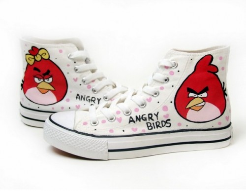 Angry Birds White Hand Painted Canvas Shoes Anime Shoes-4