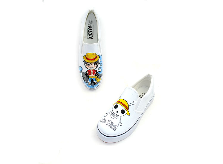 Anime One Piece Cute Luffy Hand Painted Canvas Shoes-3