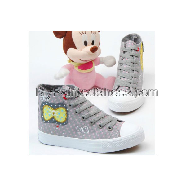 Hand Painted Shoes Wear Bowknot Girl Grey Pink Shoes